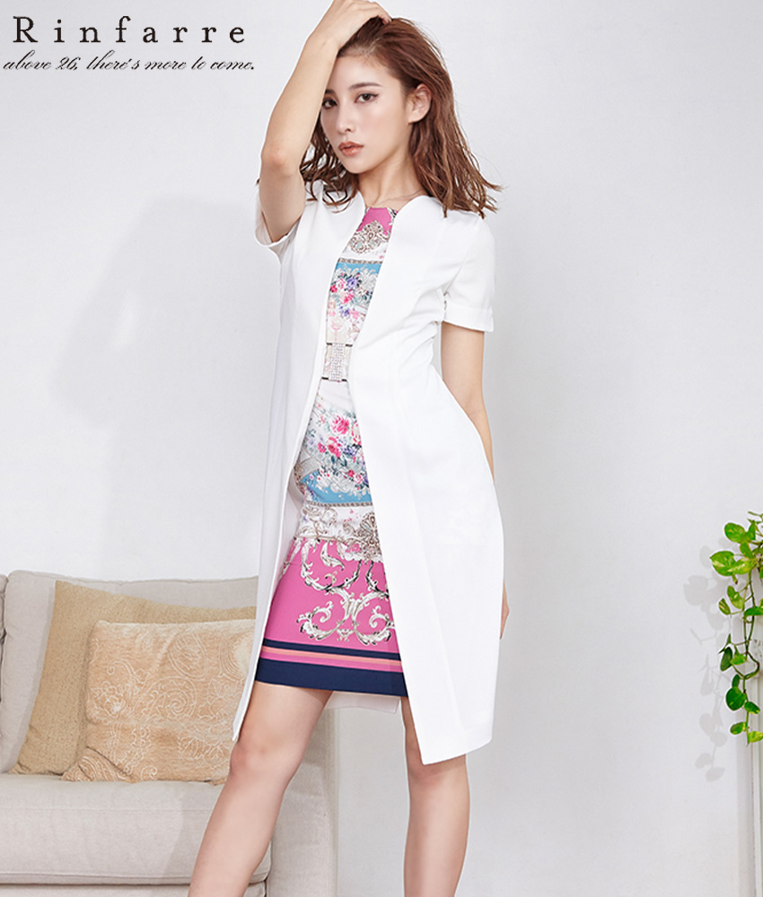 画像1: [Rinfarre]ホワイト・レイヤードスタイル・半袖・バックル・スカーフ・ミニ・ドレス・ ワンピース[MIRIN着用][送料無料] (1)