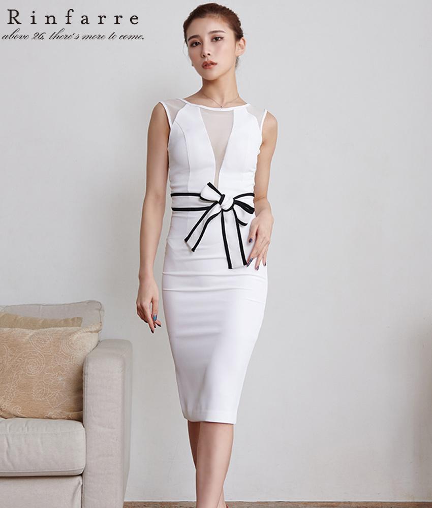 画像1: [韓国製][Rinfarre]ノースリーブ・ホワイト×ブラックパイピングリボン・タイト・ミディアム・ドレス・ワンピース[MIRIN着用][送料無料] (1)