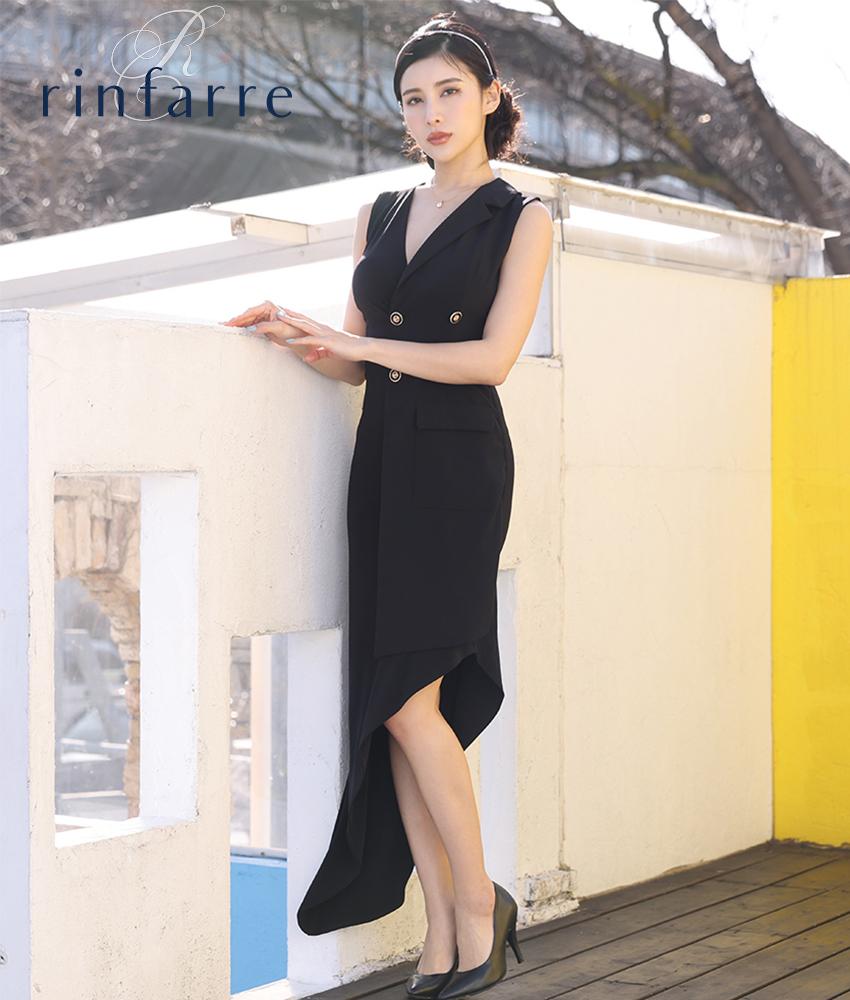 画像1: [韓国製][rinfarre]ブラック・片襟 ・前ボタン・個性的・アシメントリー・ノースリーブ・タイト・ロングドレス[MIRINちゃん着用]《送料&代引き手数料無料》 (1)