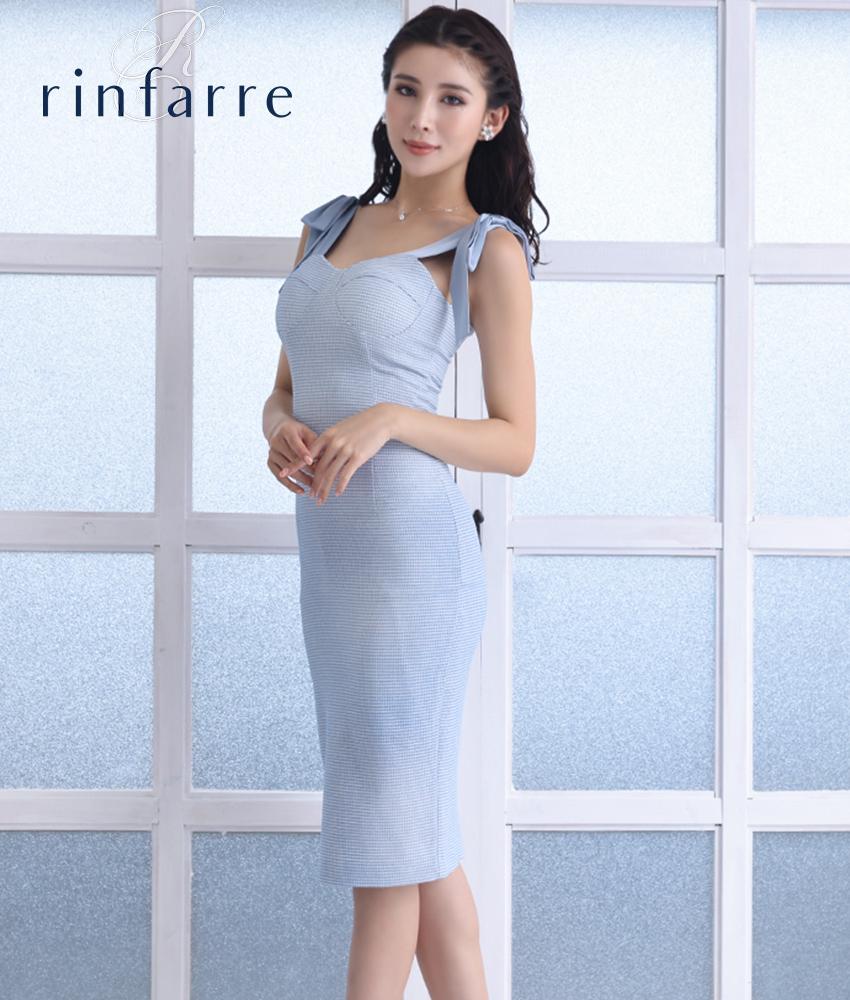 画像1: [韓国製][rinfarre]ライトブルー・肩リボン・ライトツイード・コルセット風・タイト・ミディアムドレス・ワンピース[MIRIN着用][送料無料] (1)
