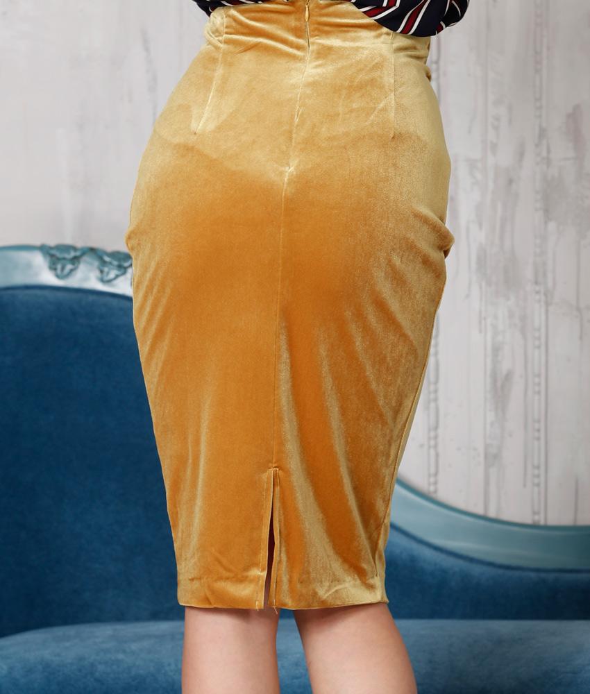 画像3: [Rinfarre]タイト・ベロア・マスタード・イエロー・ミディアム・膝丈・スカート