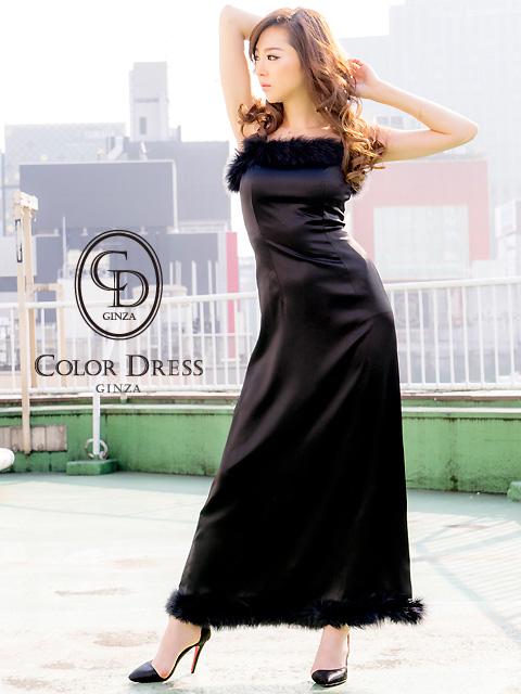 画像1: [LK][山崎みどり着用][姉ageha]ブラック・胸元&裾・ポイントファー・シンプル・ロングドレス[送料無料]