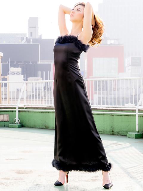 画像2: [LK][山崎みどり着用][姉ageha]ブラック・胸元&裾・ポイントファー・シンプル・ロングドレス[送料無料]