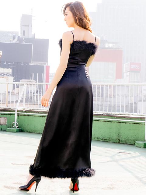 画像3: [LK][山崎みどり着用][姉ageha]ブラック・胸元&裾・ポイントファー・シンプル・ロングドレス[送料無料]
