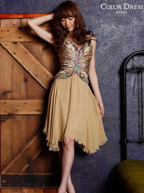 画像1: [ERUKEI][山崎みどり着用]ゴールド・ビーズ・スパン・シルク・ミディアムドレス・ワンピース[送料無料]