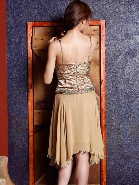 画像3: [ERUKEI][山崎みどり着用]ゴールド・ビーズ・スパン・シルク・ミディアムドレス・ワンピース[送料無料]