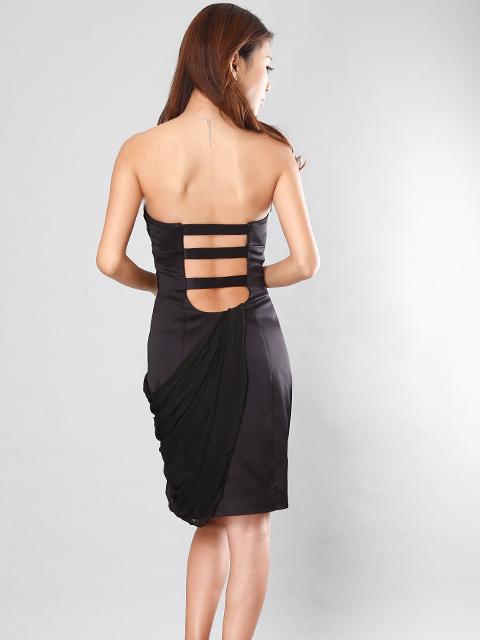 画像3: [LK]シフォンドレープ・ベア・胸元カラフルビジュー・タイト・ミニドレス・ワンピース《送料&代引き手数料無料》