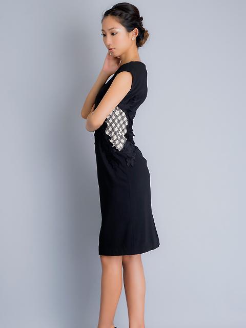 画像2: 【SALE品のため返品不可】[ERUKEI]チェック柄×ケミカルレース・フレンチスリーブ・タイト・ミディアムドレス・ワンピース