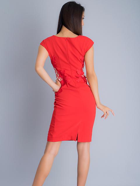 画像3: 【SALE品のため返品不可】[ERUKEI]チェック柄×ケミカルレース・フレンチスリーブ・タイト・ミディアムドレス・ワンピース