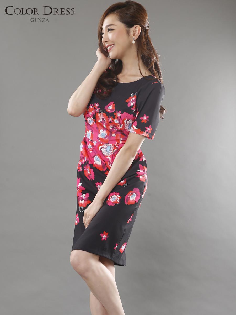 画像1: 【SALE品のため返品不可】[LK][山崎みどり着用][姉ageha]ブラック×レッド&ピンク花柄・半袖・バックスリット・ミニドレス・ワンピース