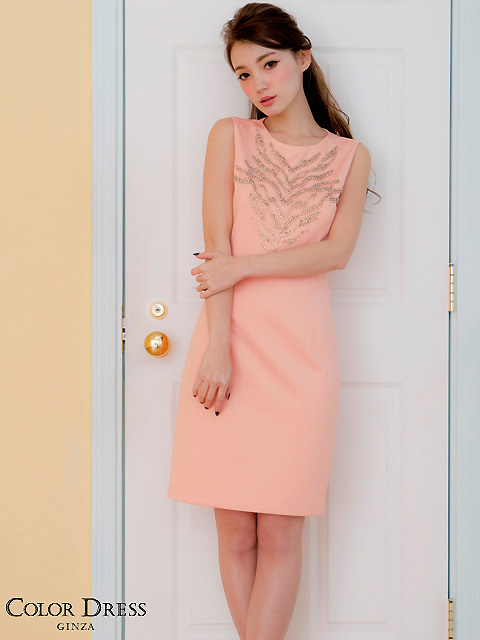 画像1: [LK][渚着用]サーモンピンク・胸元ビジュー・シンプル・タイト・ミニドレス・ワンピース[送料無料]
