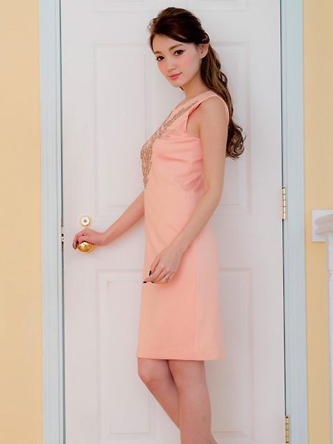 画像2: [LK][渚着用]サーモンピンク・胸元ビジュー・シンプル・タイト・ミニドレス・ワンピース[送料無料]