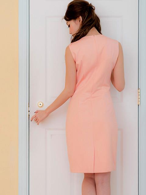 画像3: [LK][渚着用]サーモンピンク・胸元ビジュー・シンプル・タイト・ミニドレス・ワンピース[送料無料]