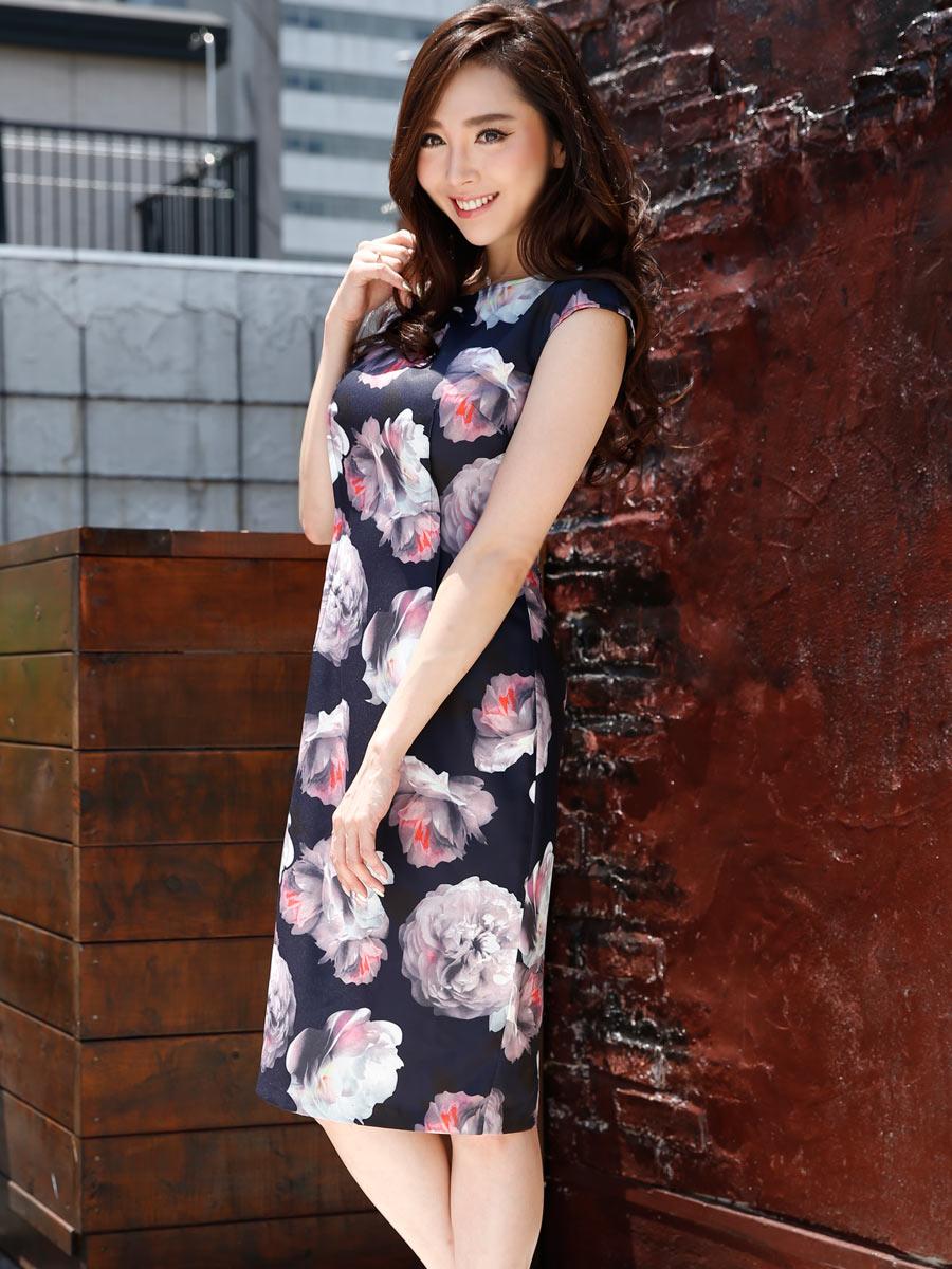 画像2: [LK][山崎みどり着用][姉ageha]ネイビー・水彩画花柄・フレンチスリーブ・タイト・ミディアムドレス・ワンピース[送料無料]