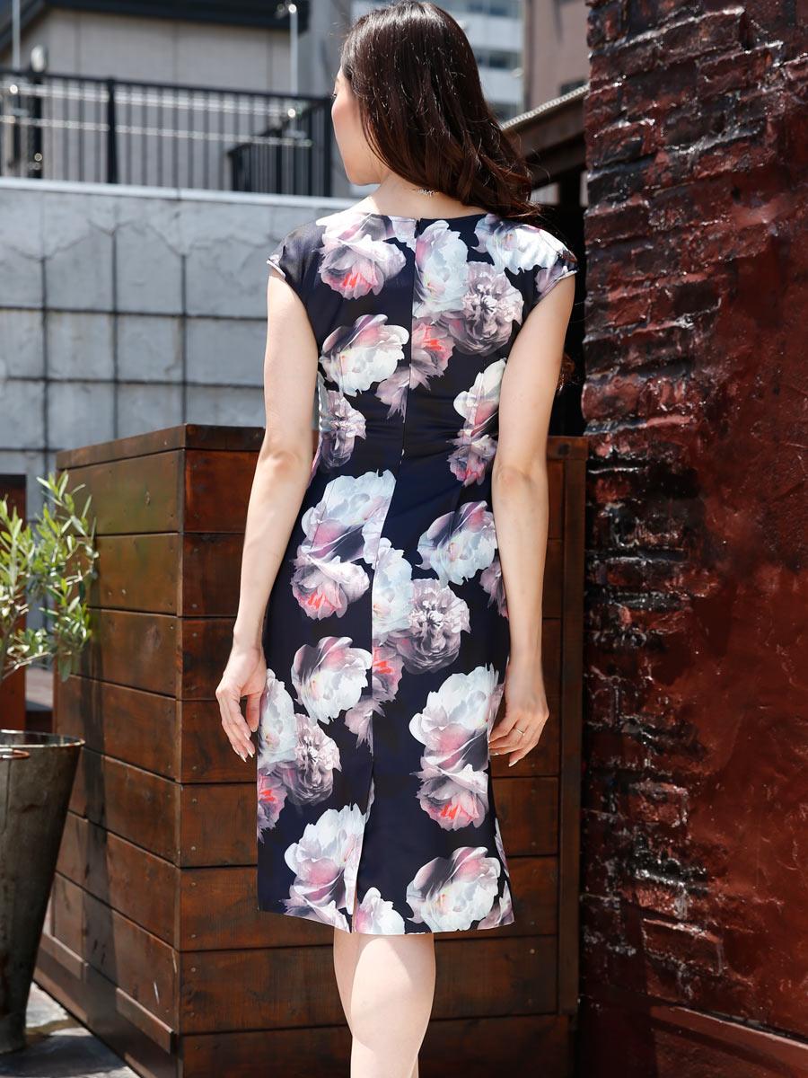 画像3: [LK][山崎みどり着用][姉ageha]ネイビー・水彩画花柄・フレンチスリーブ・タイト・ミディアムドレス・ワンピース[送料無料]