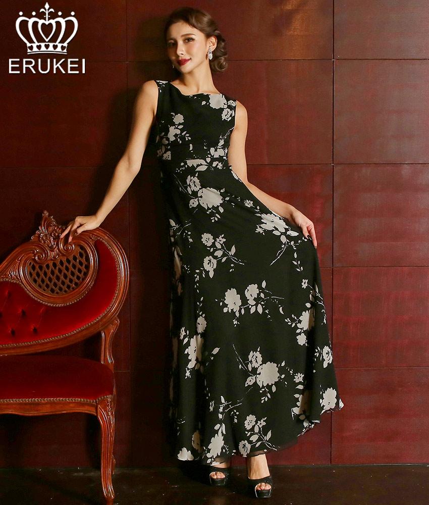 画像1: [ERUKEI]シルク・大人・ノースリーブ・ボートネック・ブラック・花柄・ロングドレス・ワンピース[MIRIN着用]《送料&代引き手数料無料》