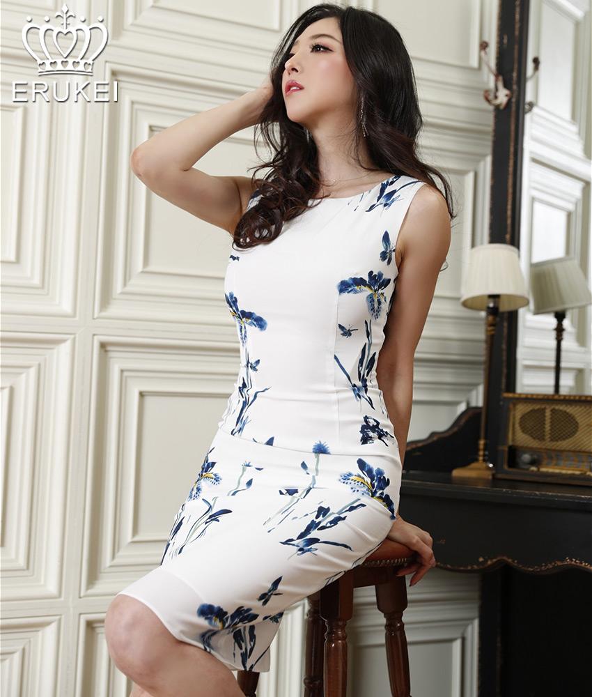 画像1: [ERUKEI]ホワイト×ブルー花柄・エレガント・ノースリーブ・ミニドレス・ワンピース[山崎みどり着用][送料無料]my