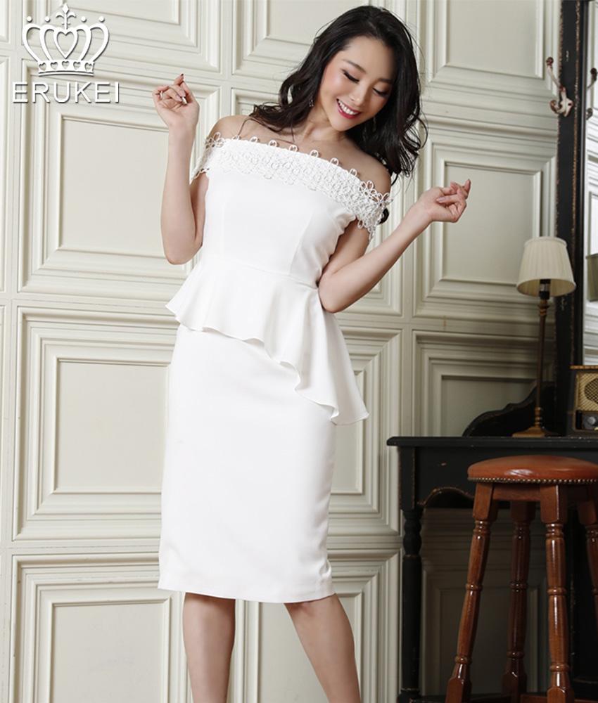 画像1: [ERUKEI]ホワイト・ポイントレース・フリルペプラム・シンプル・タイト・ミディアム・ひざ丈・ワンピース・ドレス[山崎みどり着用][送料無料]my