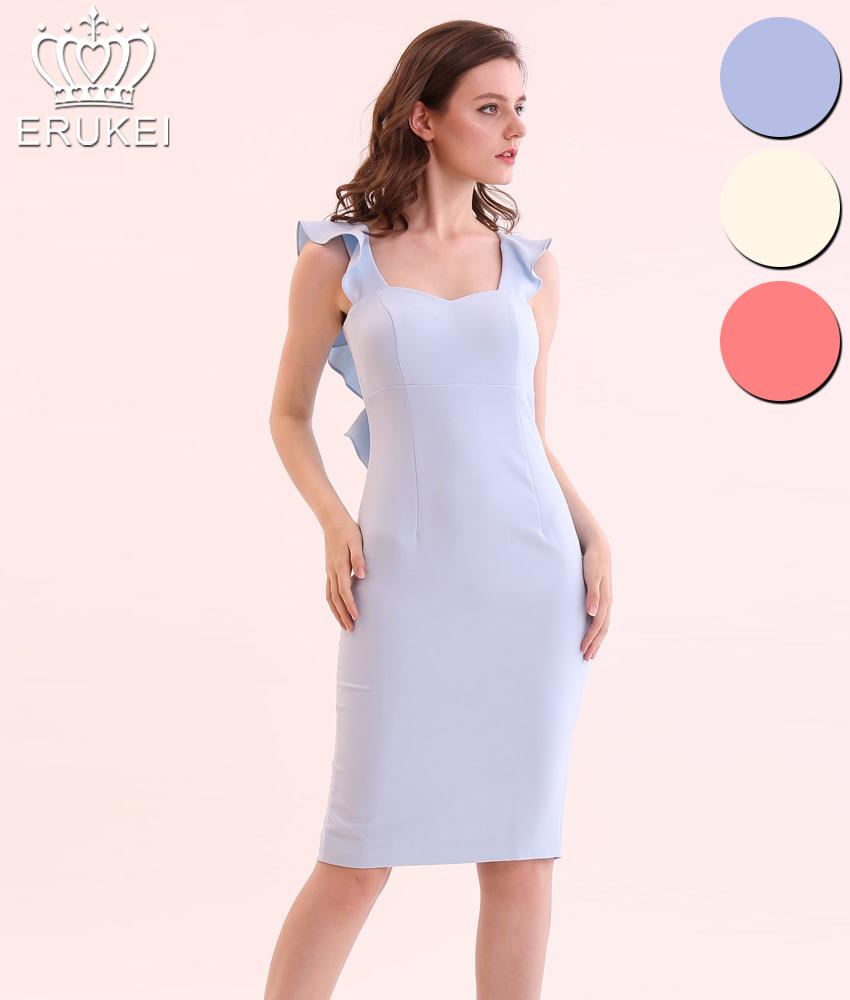 画像1: [ERUKEI]タイト・シンプル・バックフリルデザイン・ミディアムドレス・ワンピース[送料無料] (1)