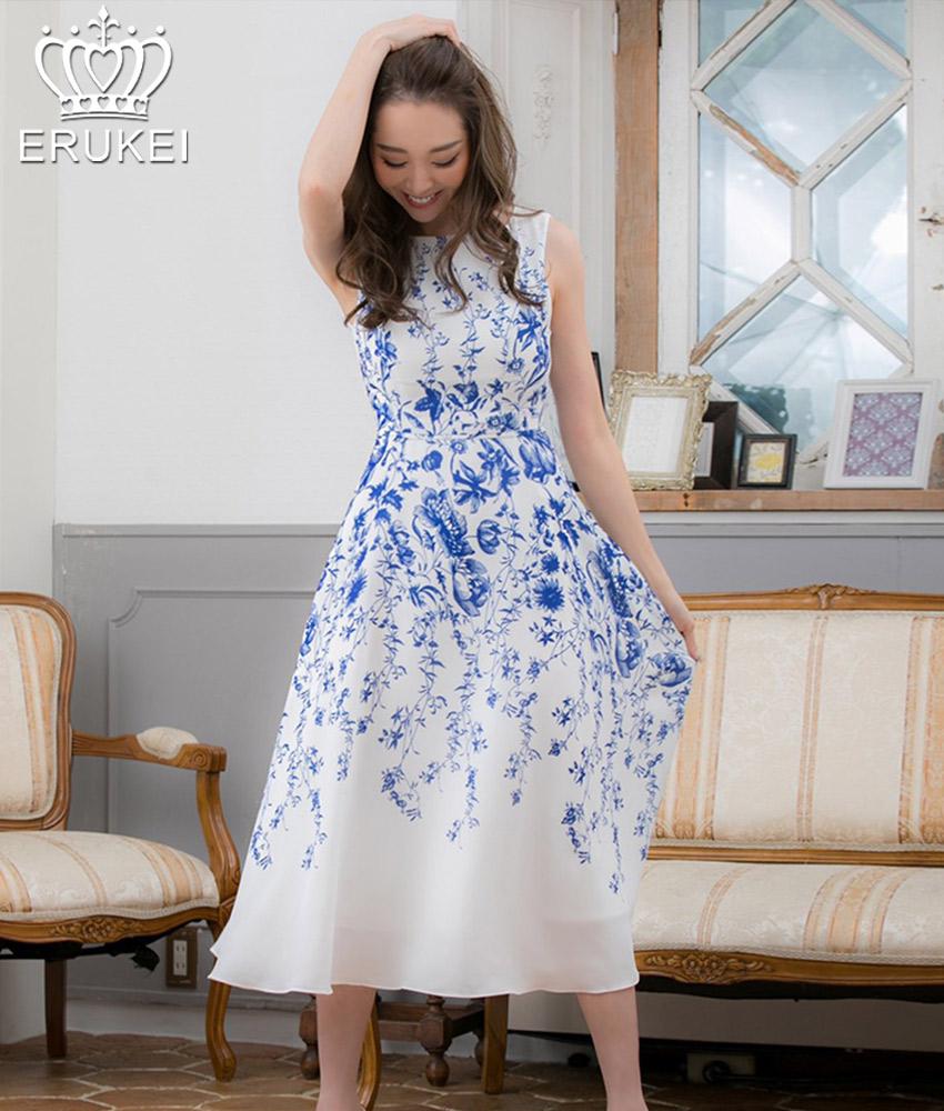 画像1: [ERUKEI]ホワイトベース・ブルー花柄・ノースリーブ・Aライン・フレア・ミディアムドレス・ワンピース[山崎みどり着用][送料無料]mypr (1)