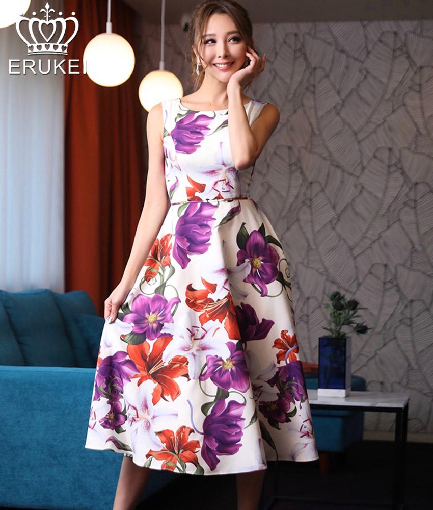画像1: [ERUKEI]ホワイト×パープル花柄・ノースリーブ・ひざ下・Aライン・ミディアムドレス・ワンピース[山崎みどり着用][送料無料]my (1)