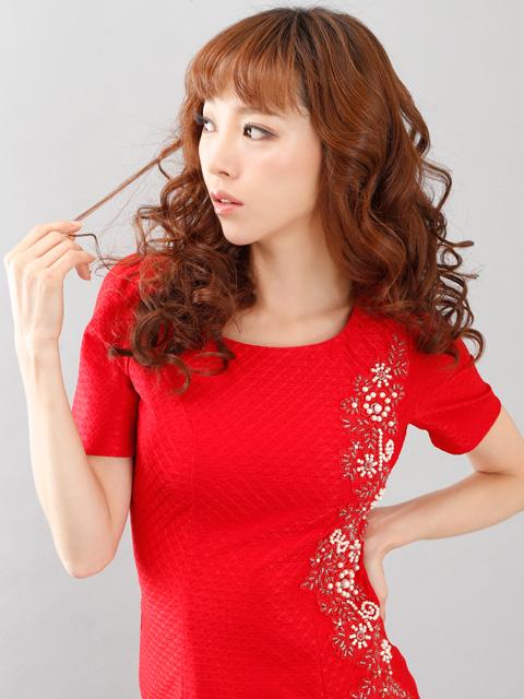 画像4: 【SALE品のため返品不可】[Glitter][山崎みどり着用]左サイドビーズ刺繍・半袖・ミニドレス・ワンピース