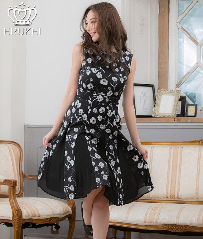 画像1: [ERUKEI]ブラック・花柄・ノースリーブ・Aライン・フレア・プリーツ・ミディアムドレス・ワンピース[山崎みどり着用][送料無料]my