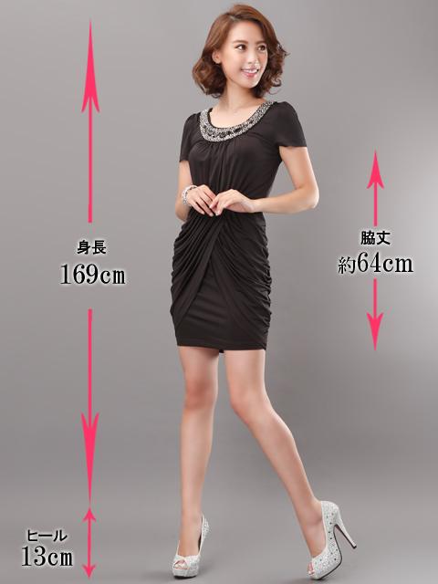 画像5: [SALE品のために返品不可][LK][BLENDAモデル ソンイ着用]デコルテビジュー・シャーリング・半袖・タイト・ミニドレス・ワンピース