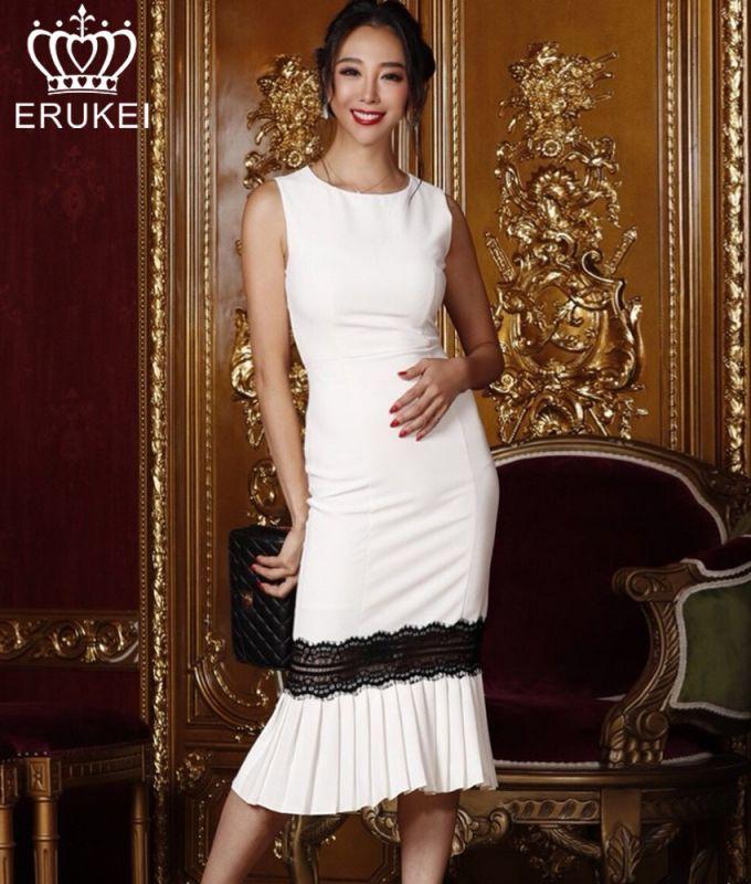 画像1: [LK][山崎みどり着用][姉ageha]ホワイト・ブラックレース・マーメイド・裾プリーツ・ノースリーブ・ミディアムドレス・ワンピース[送料無料]