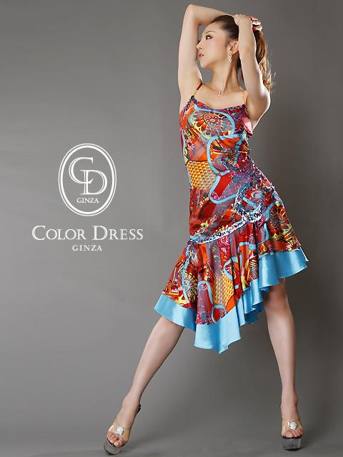 画像1: [SALE品のために返品不可][ERUKEI][山崎みどり着用]スカーフプリント・スカイブルー・フレア・ミディアムドレス (1)