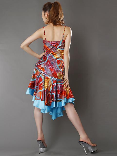 画像2: [SALE品のために返品不可][LK][山崎みどり着用]スカーフプリント・スカイブルー・フレア・ミディアムドレス