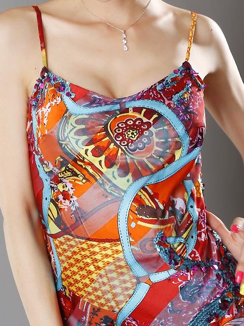 画像4: [SALE品のために返品不可][LK][山崎みどり着用]スカーフプリント・スカイブルー・フレア・ミディアムドレス
