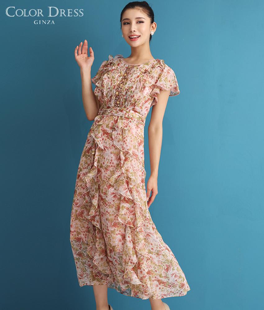 画像1: [ERUKEI]ピンク・花柄・フロントビジュー・半袖・フリル・キュート・ひざ下・ミディアムドレス・ワンピース[MIRIN着用]《送料&代引き手数料無料》 (1)