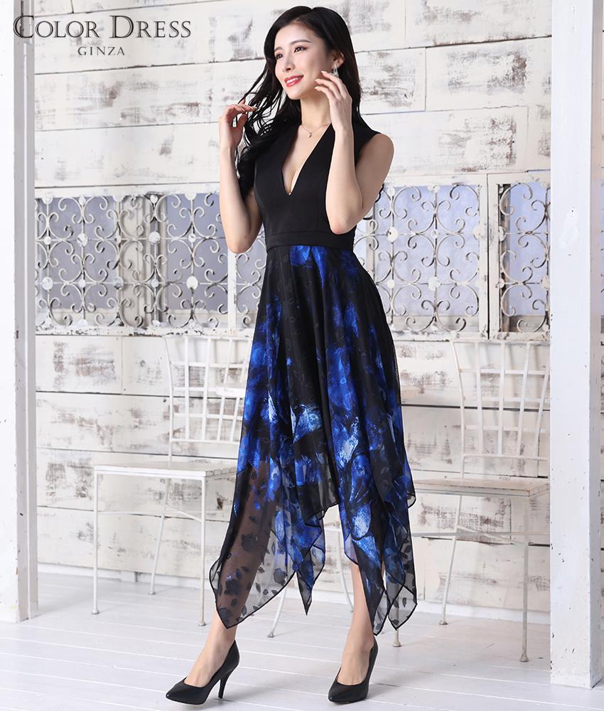 画像1: [ERUKEI Settan]ブラック×ブルー・花柄・Vネック・アシメントリー・Aライン・ミディアムドレス・ワンピース[MIRIN着用]《送料&代引き手数料無料》 (1)