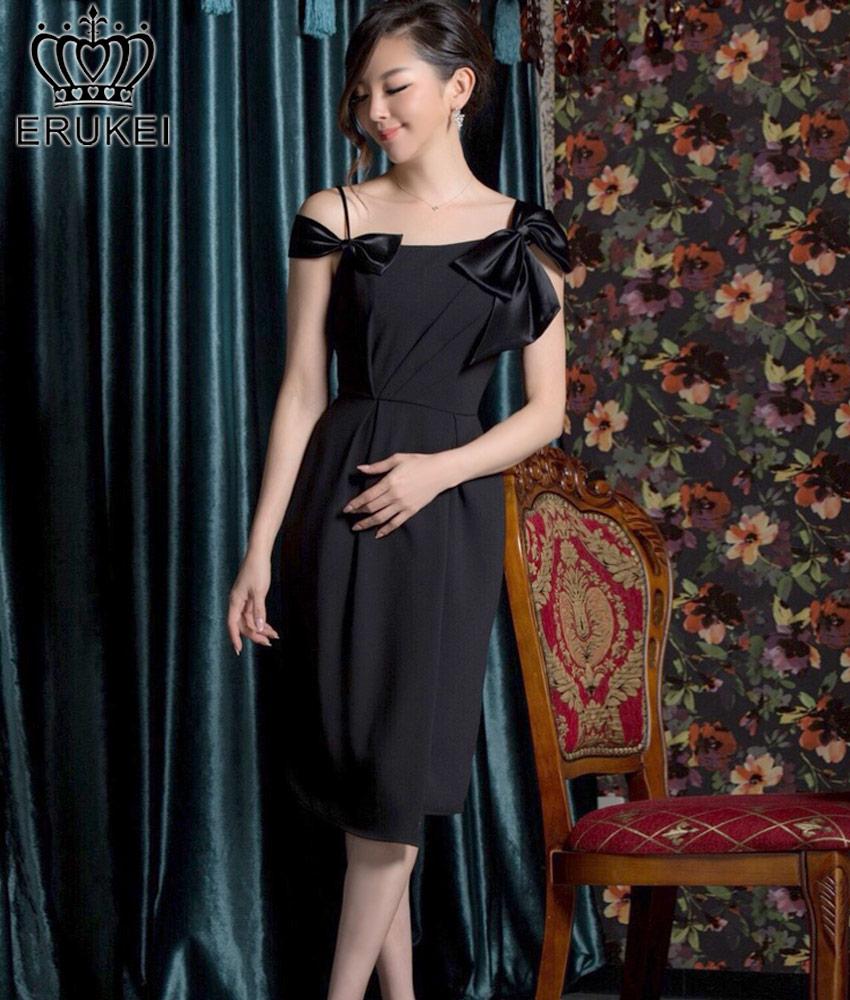 画像1: [ERUKEI Settan][山崎みどり着用][姉ageha]ブラック・シンプル・無地・リボンポイント・フレア・ミディアムドレス・ワンピース《送料&代引き手数料無料》mbk