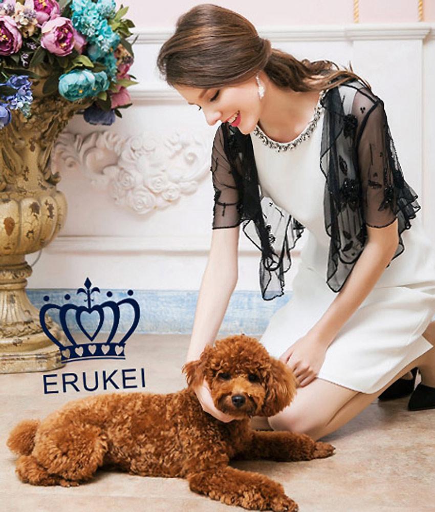 画像1: [ERUKEI]ブラック・スリーブ・ビーズ刺繍・ボレロ[送料無料]