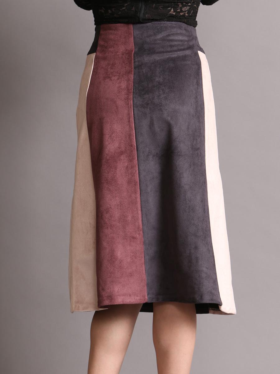 画像3: [Rinfarre] Aライン・ピンク系・グレー・配色・台形・フェイクスエード・ミディアム・膝丈・スカート[送料無料]
