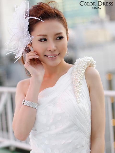 画像4: [ERUKEI][レッド][ホワイト]贅沢ビジュー・シフォン・バックテイル・ワンショルダー・ロングドレス《送料&代引き手数料無料》 (4)