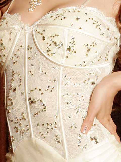 画像: [再入荷][前回即売れドレス再入荷][山崎みどりちゃん着用][ゴールド][オフホワイト][ERUKEI]エレガントコルセットビスチェ風・高級ロングドレス《送料&代引き手数料無料》mall