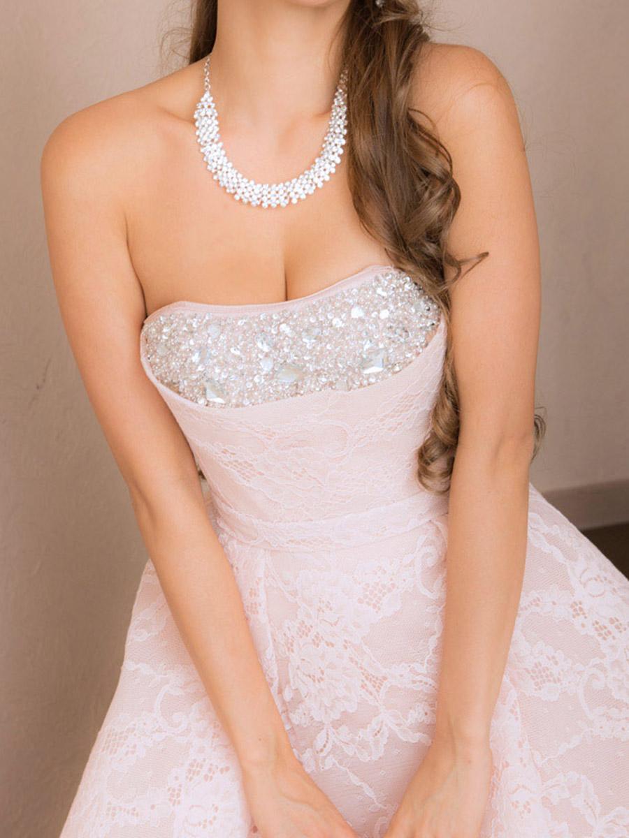 画像4: [Angel R]総レース・ウエディング・胸元ビジュー・ベア・ハイウエスト・プリンセス・Aライン・スピンドル・ロングドレス《送料&代引き手数料無料》 (4)