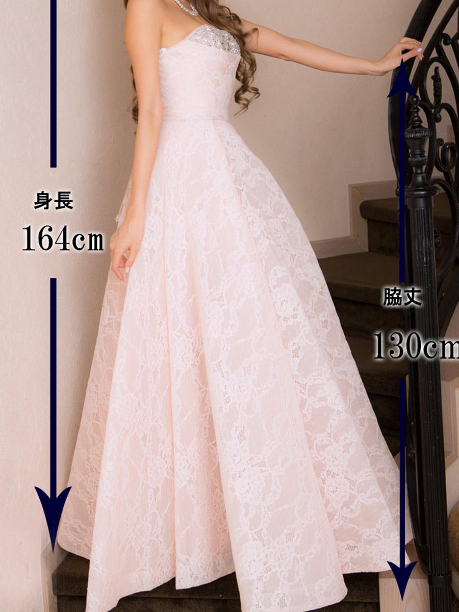 画像5: [Angel R]総レース・ウエディング・胸元ビジュー・ベア・ハイウエスト・プリンセス・Aライン・スピンドル・ロングドレス《送料&代引き手数料無料》 (5)