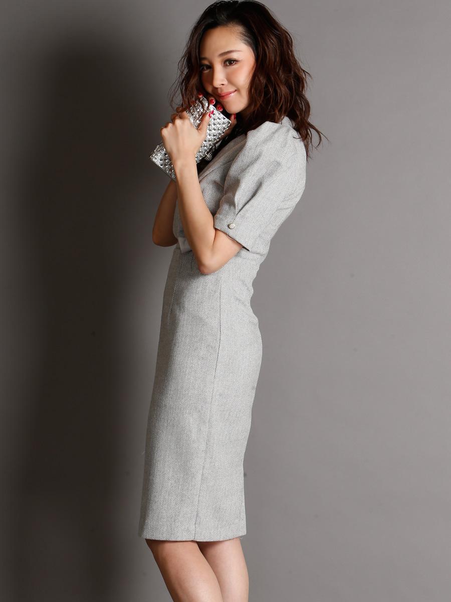 画像2: [現品限りの再入荷なし][Rinfarre][山崎みどり着用][姉ageha]グレー・パフスリーブ・カシュクール・ウール風・大人・タイト・ミディアムドレス・ワンピース[送料無料] (2)