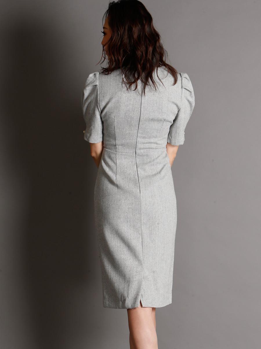 画像3: [現品限りの再入荷なし][Rinfarre][山崎みどり着用][姉ageha]グレー・パフスリーブ・カシュクール・ウール風・大人・タイト・ミディアムドレス・ワンピース[送料無料] (3)