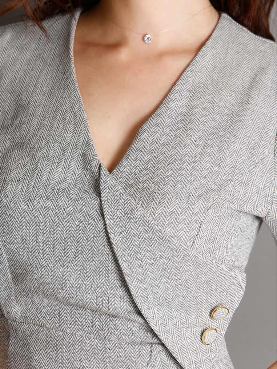 画像: [現品限りの再入荷なし][Rinfarre][山崎みどり着用][姉ageha]グレー・パフスリーブ・カシュクール・ウール風・大人・タイト・ミディアムドレス・ワンピース[送料無料]