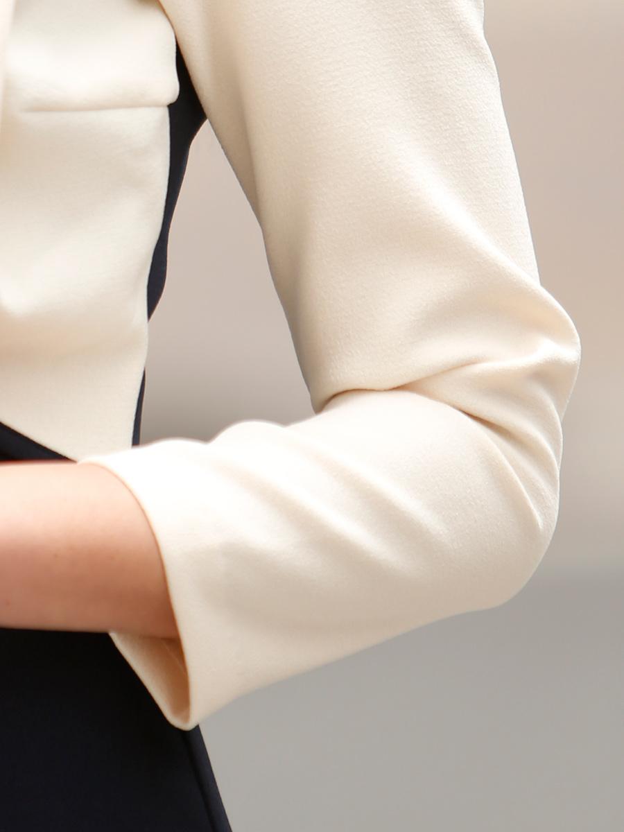 画像: [お問い合わせ多数!!再入荷][韓国製][Rinfarre] [薗田杏奈着用]大人・バイカラー・ボレロ風・リボンモチーフ・七分袖・タイト・ミディアムドレス・ワンピース[送料無料]