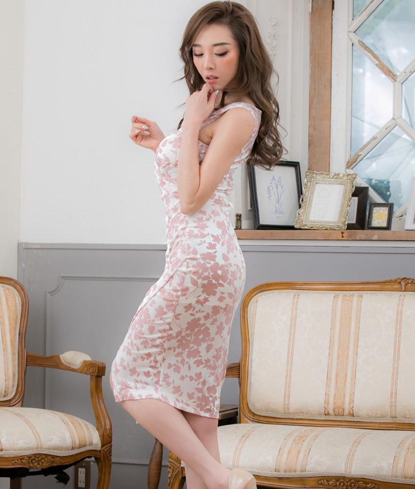 画像2: [韓国製][Rinfarre]ホワイト×ピンク花柄・カシュクール・Vネック・ノースリーブ・ミディアムドレス・ワンピース[山崎みどり着用][送料無料]my (2)