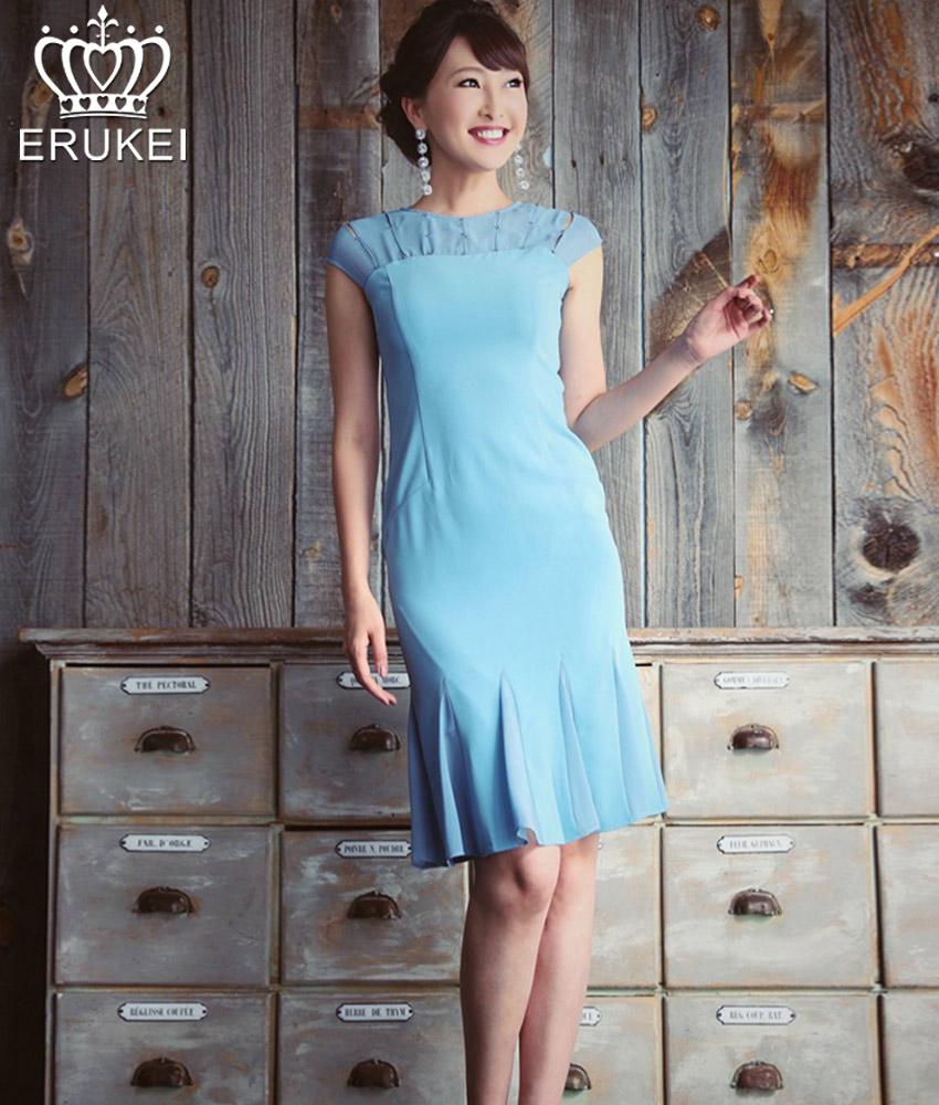 画像1: [ERUKEI]シンプル・ライトブルー・裾マーメイド・フレンチスリーブ・ミニドレス・ワンピース[薗田杏奈着用][送料無料] (1)
