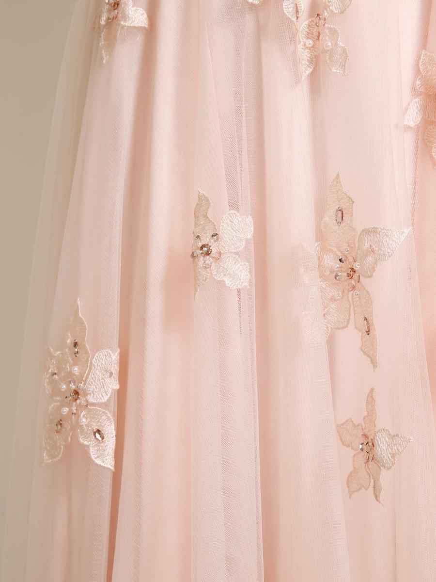 画像: [ERUKEI][山崎みどり着用][姉ageha]花柄刺繍・ビジュー・キラキラ・ウエストライン・ヌーディーネット・ハートカット・チュール・バックトレーン・エレガント・ロングドレス《送料&代引き手数料無料》
