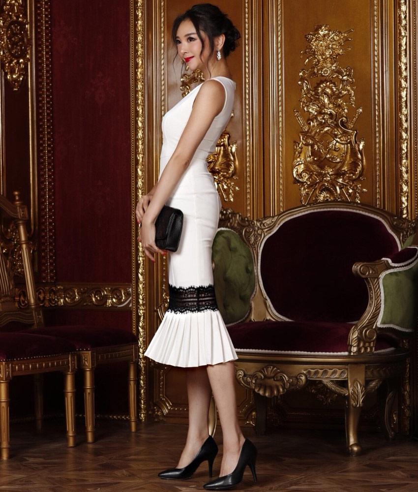 画像2: [LK][山崎みどり着用][姉ageha]ホワイト・ブラックレース・マーメイド・裾プリーツ・ノースリーブ・ミディアムドレス・ワンピース[送料無料] (2)